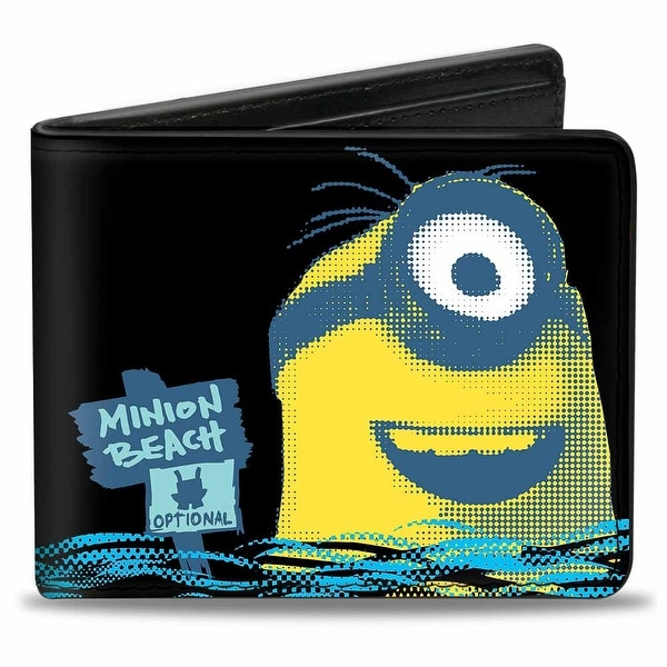All Natural Swimming Minion Beach Black Blues Yellows Bi Fold Wallet - One Size Fits most