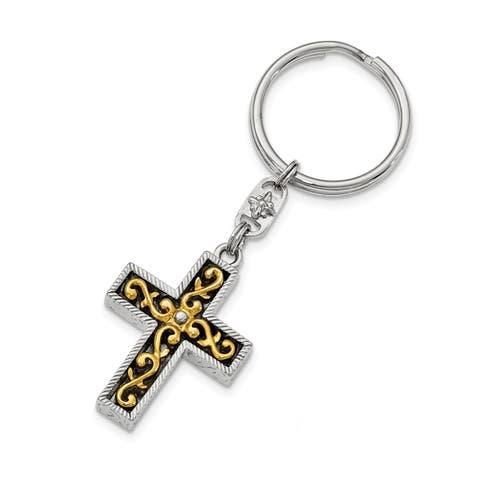 14k Gold IP & Silvertone Cross Key Chain