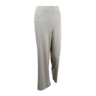 Kasper Women's Pull-On Rib Knit Wide Leg Pants - Clay