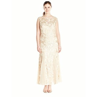 Alex Evenings Women's Plus Size Full-Length Embroidered Dress,Champagne,24W