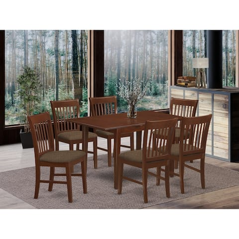 7-piece Mahogany Finish Dinette Set - Rectangle Table and 6 Chairs