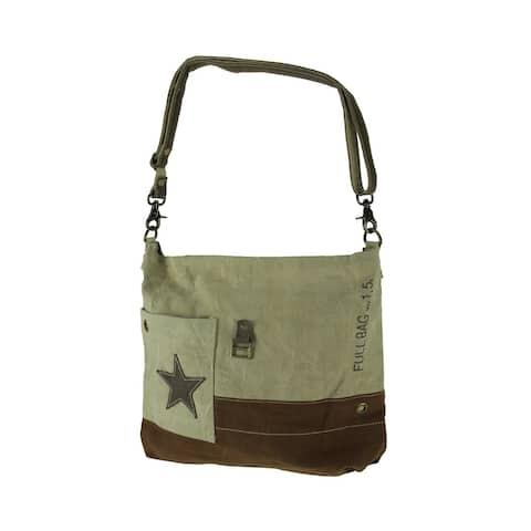 Canvas and Genuine Leather Trim Pocket Star Upcycled Crossbody Shoulder Bag