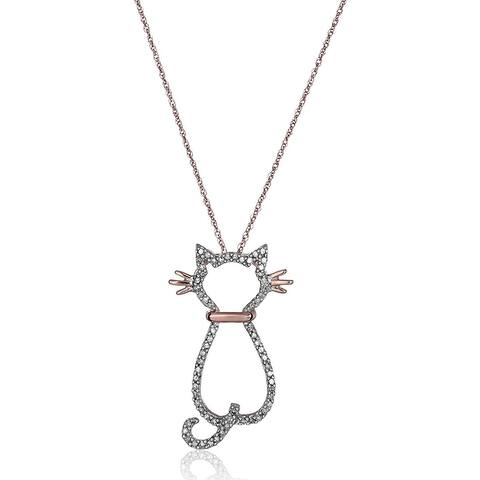 1/5 ct Diamond Cat Pendant in 14K Rose Gold, 18""