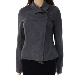Tommy Hilfiger NEW Gray Womens Size 8 Asymmetrical Moto-Zip Jacket