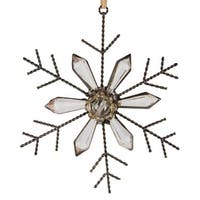 "5"" Silent Luxury Rustic Jeweled Faceted Tip Snowflake Christmas Ornament"