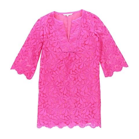 Trina Turk Womens Petal Lace Shift Dress, pink, 2