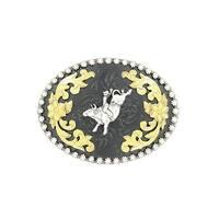 Nocona Western Belt Buckle Oval Bull Rider Black Silver - 2 3/4 x 4