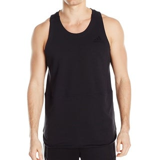 Adidas NEW Deep Black Mens Size 2XL Knit Stretch Mixed-Media Tank