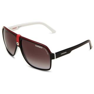 Carrera 33/S 8V4 WJ Shiny Black/Red/White Grey Gradient Aviator Sunglasses - 62mm-11mm-140mm