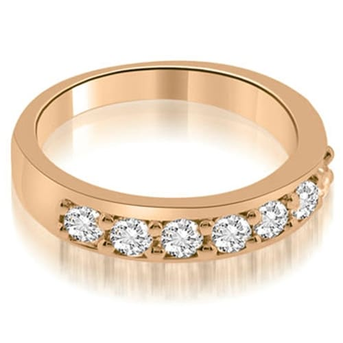 0.70 cttw. 14K Rose Gold Classic Prong Set Round Cut Diamond Wedding Band