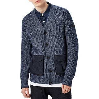 G Raw NEW Blue Mens Size Large L Button Down Knit Cardigan Sweater