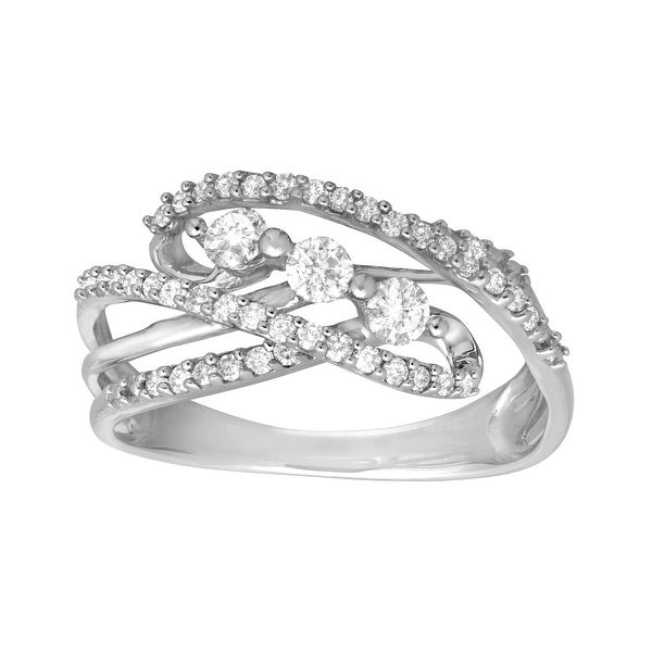 1/2 ct Diamond Swirl Ring in 14K White Gold