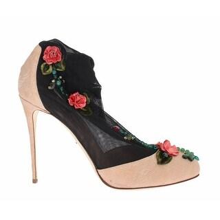 Dolce & Gabbana Pink Jacquard Black Roses Socks Shoes - 41
