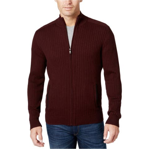 Alfani Mens Red Size Small S Ribbed Knit Full Zip Jacket Cotton