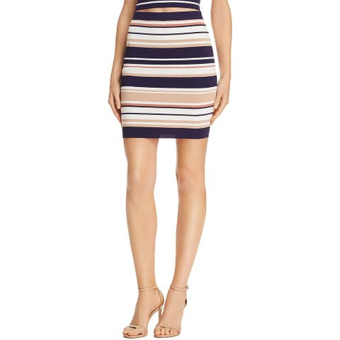 Bardot Womens Knit Skirt Striped Pull On - Navy/Pebble