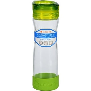 Full Circle Home Water Bottle - Travel - Glass - Hydrate Mate - Green Slate - 16 oz Water Bottles