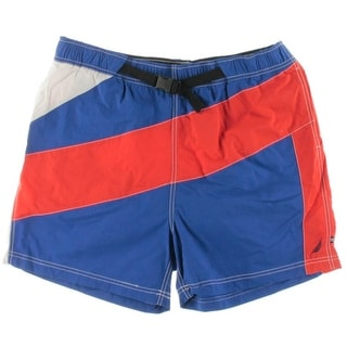 Nautica Mens Striped Quick Dry Swim Trunks