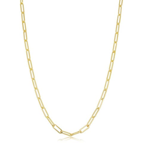 Solid 14k Gold Filled 3.1 millimeters Paper Clip Link Chain Necklace for Women (16, 18, 20, 24, 30 or 36 inches)