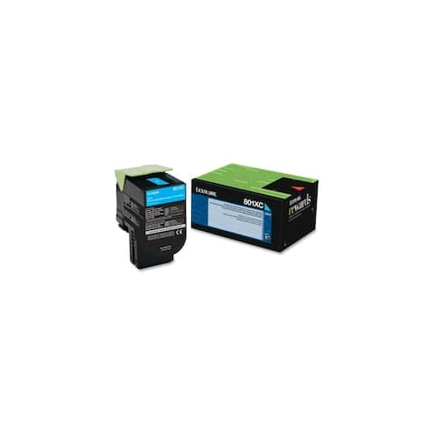 Lexmark 80C1XC0 Lexmark 801XC Cyan Extra High Yield Return Program Toner Cartridge - Cyan - Laser - 4000 Page - 1 Each - OEM