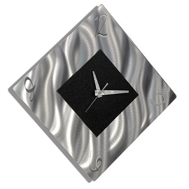 Statements2000 Black / Silver 17-inch Metal Hanging Wall Clock - Prediction Clock