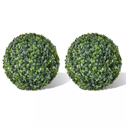 """Boxwood Ball Artificial Leaf Topiary Ball 13.8"""" 2 pcs"""