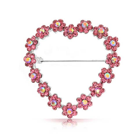 Large Open Heart Shaped Flower Brooch Pin Pink Topaz Crystal Floral