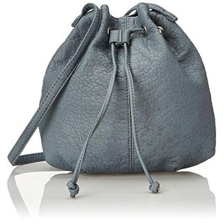 Wild Pair Womens Faux Leather Drawstring Bucket Handbag - Blue - Medium