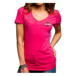 Harley-Davidson Women's Enraged Thunder V-Neck Stretch Tee, Pink 5E35-HE9D