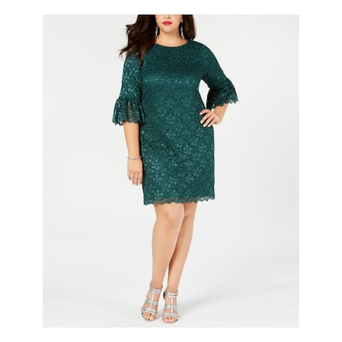 JESSICA HOWARD Womens Green Glitter Lace 3/4 Sleeve Jewel Neck Above The Knee Sheath Party Dress Plus Size: 14W