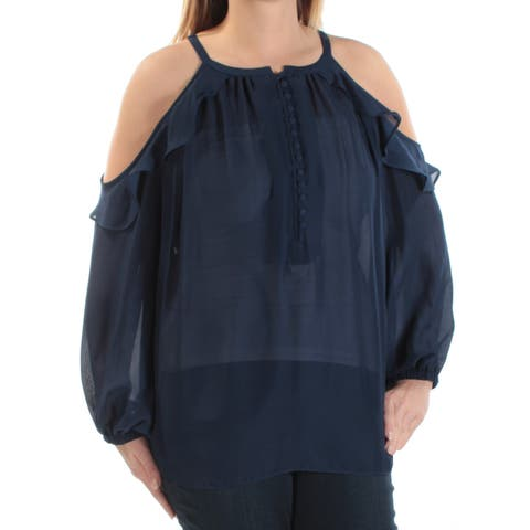 CATHERINE MALANDRINO Womens Navy Ruffled Long Sleeve Off Shoulder Top Size: L