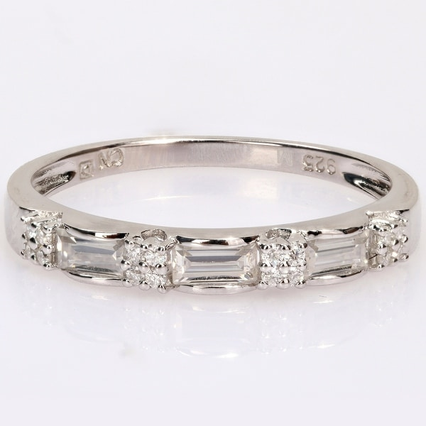 Miadora 2/5ct DEW Baguette-cut Moissanite Semi-Eternity Wedding Band Ring in Sterling Silver. Opens flyout.