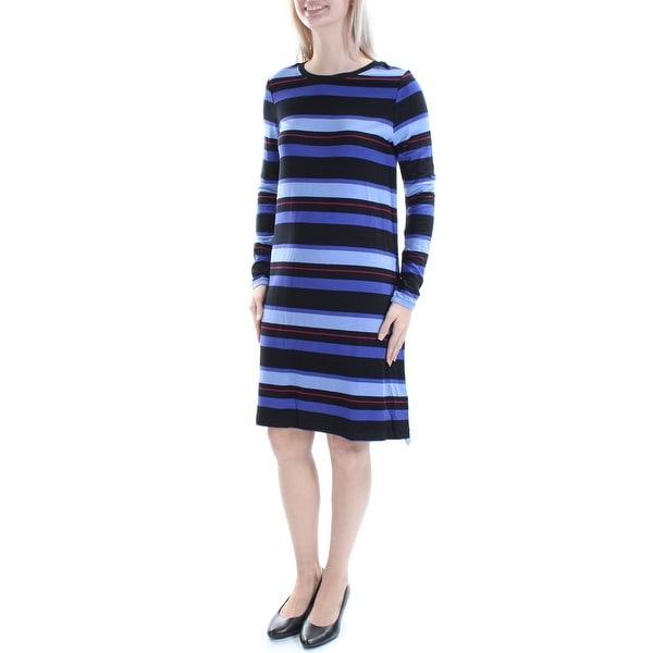 Kensie 69 Womens New 1358 Blue Black Striped Long Sleeve Shift