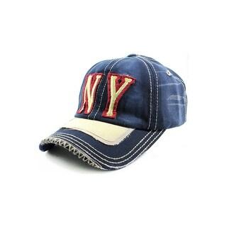 NY Distressed Baseball Cap (Option: Khaki)