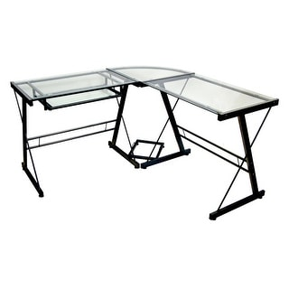 "Delacora WE-BD51X29-GLASS  51"" Wide Glass and Steel Writing Desk"