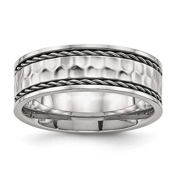 Stainless Steel Polished Hammered Comfort Back Ring - Sizes 7 - 13