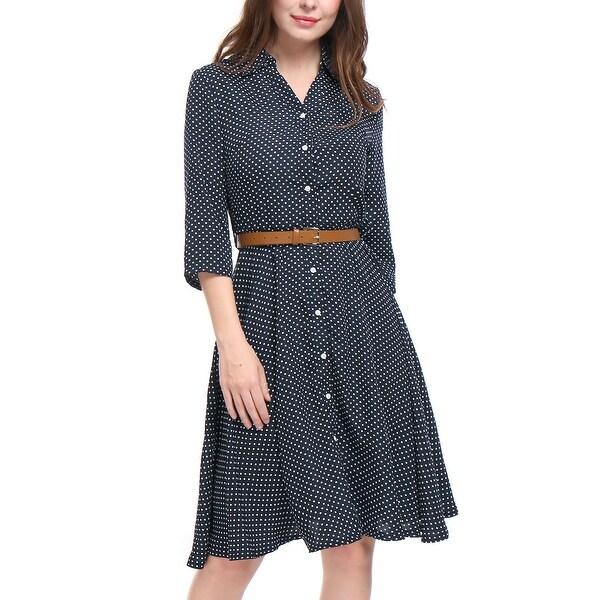 Allegra K Women Polka Dots 3/4 Sleeves A Line Belted Midi Shirt Dress - Blue