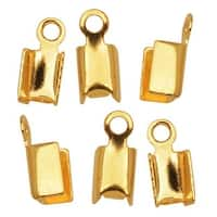 22K Gold Plated Foldover 3mm Cord Ends For Leather (X50)