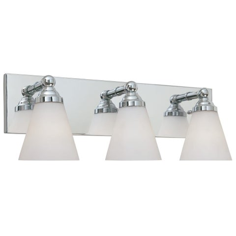 Designers Fountain 6493 Contemporary Three Light 300W Bathroom Wall Fixture from the Hudson Collection - Chrome
