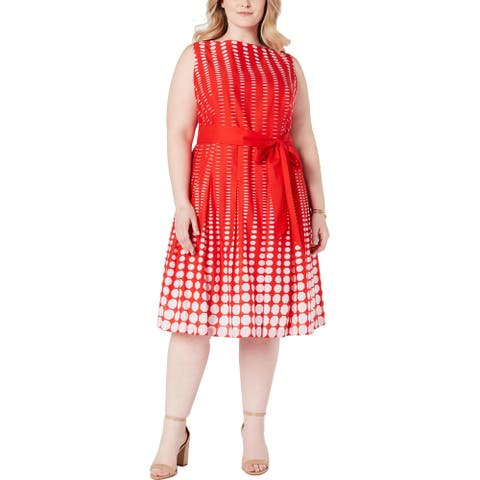 Anne Klein Womens Plus Shift Dress Cotton Printed - Poppy/White - 22