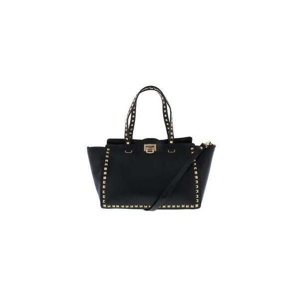 BCBG Paris Womens Tote Handbag Faux Leather Studded - Large