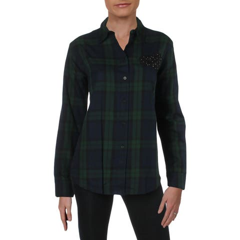 Lauren Ralph Lauren Womens Blouse Plaid Embelished