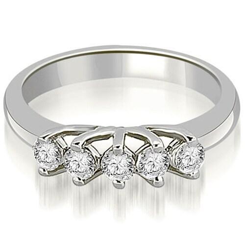 0.50 cttw. 14K White Gold Round Diamond Two Prong Wedding Band