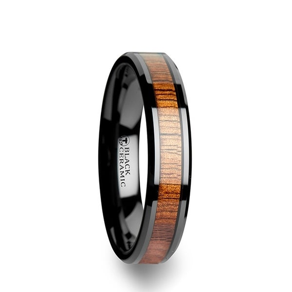 THORSTEN - ACACIA Koa Wood Inlaid Black Ceramic Ring with Bevels - 4mm