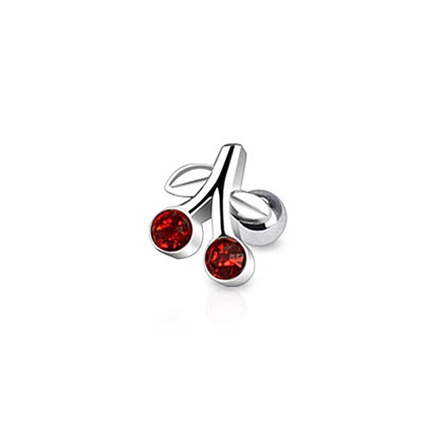 Cherry with Red CZ Tragus/Cartilage Piercing Stud 316L Surgical Steel (Sold Ind.)