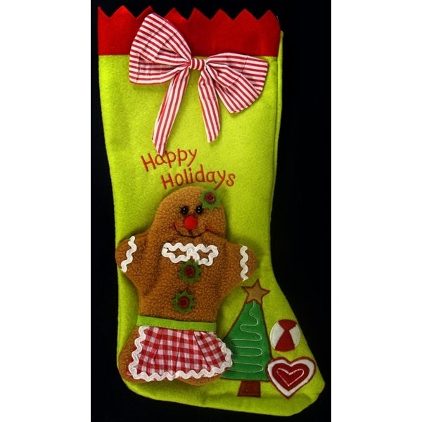 """17"""" Gingerbread Kisses Lime Green and Gingham Red Striped Christmas Stocking"""