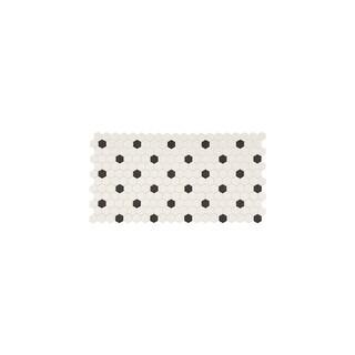 "Daltile DK1HEXMSP Keystones - 1"" x 1"" Hexagon Mosaic Multi-Surface Tile - Unpoli - white with black dot - N/A"