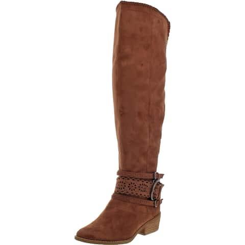 Not Rated Bevel Women's Faux Suede Block Heek Knee High Boots