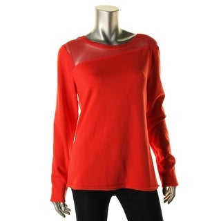 Elie Tahari Womens Kaori Fleece Mesh Inset Pullover Top - L