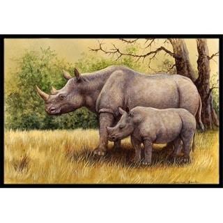 Carolines Treasures BDBA0306MAT Rhinoceros by Daphne Baxter Indoor or Outdoor Mat 18 x 27