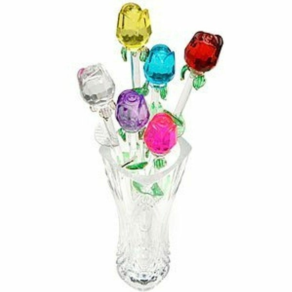 Jumbl Glass Roses - Set of 6 in Assorted Colors (13 inch)